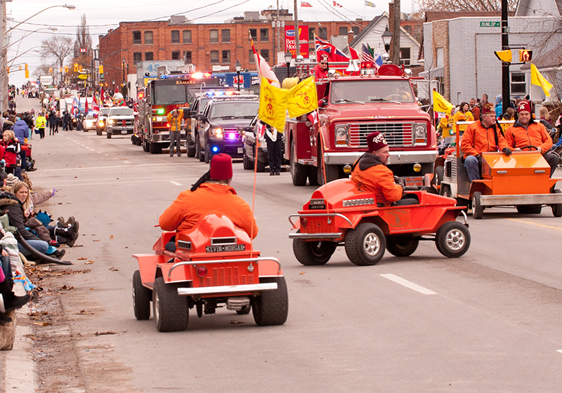 Shriner's in their little cars at the Santa Clause Parade in Orillia, 2011