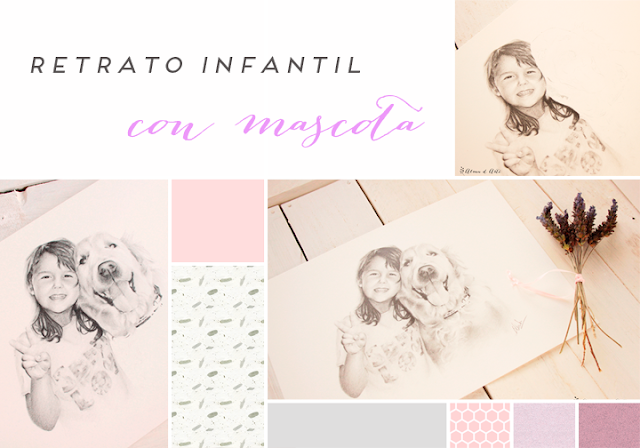 Moodboard retrato infantil con mascota