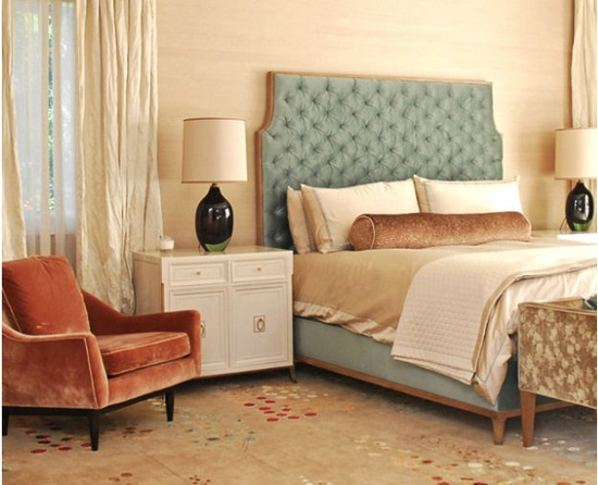 This 60s padded tufted headboard is classic and elegant.