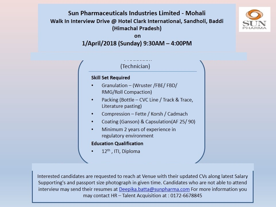 Pharma Vacancy: Walk in for Sun Pharma (Mohali Unit) in