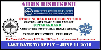 AIIMS Rishikesh Public Health Nurse Recruitment  2018
