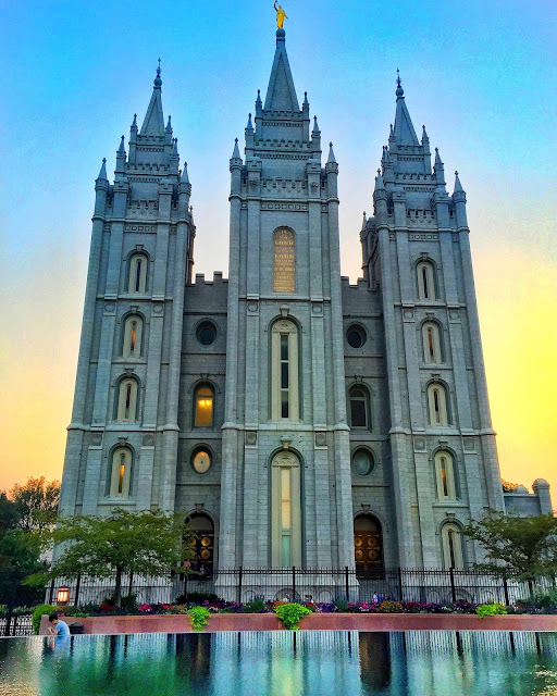Salt Lake City LDS Temple at sunset