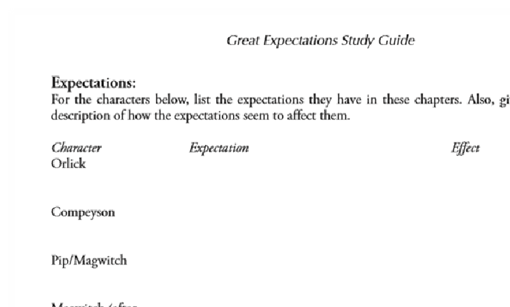 There Will Be A $5.00 Charge For Whining: A TOS Review: Great Expectations Study Guide