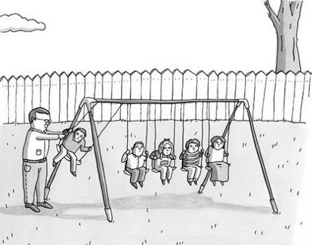Funny Physicist Swing Dad Cartoon Image Children