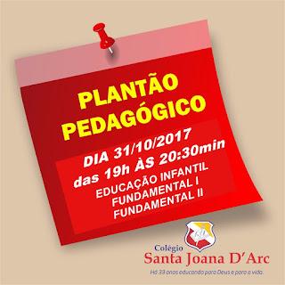 PLANTÃO PEDAGÓGICO - 31/10/2017