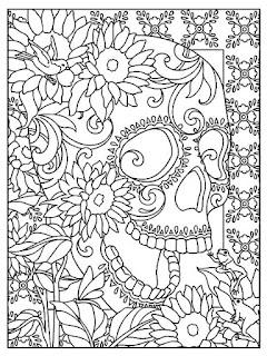 Mandala del dia de muertos para niños calavera