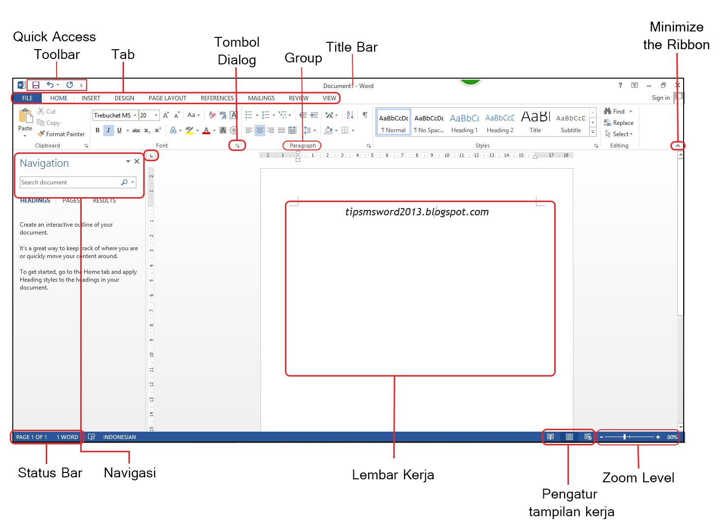 Tutorial dasar microsoft word 2013 memahami lembar kerja tampilan lembar kerja microsoft word 2013 baditri Choice Image