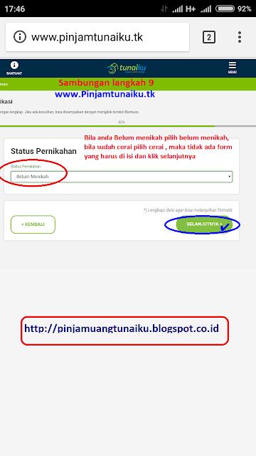 i.Gambar Sambungan langkah 9 pengajuan pinjaman uang tanpa jaminan via link web promo tunaiku www.Pinjamtunaiku.tk