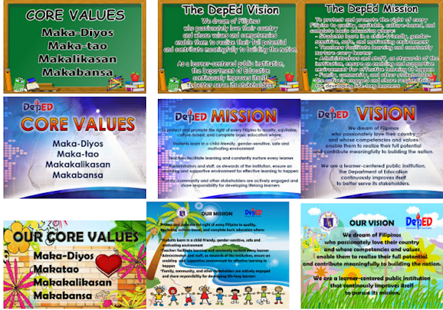 deped vision mission core values The review of our vision and mission was anchored on the filipino core values  of maka-diyos, maka-tao, makakalikasan and makabansa as.