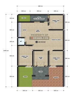 Desain Denah Rumah Ukuran 9x14m 3 Kamar Tidur