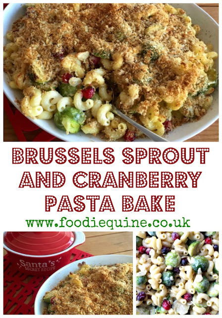 www.foodiequine.co.uk The quintessential flavours of Christmas combine in this hearty recipe for Vegetarian Brussels Sprout and Cranberry Pasta Bake. Comfort food at its best with a festive twist