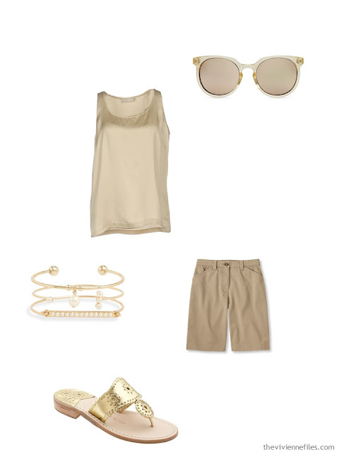 camel summer outfit with gold accessories