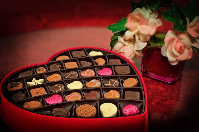 Valentine's chocolates and flowers
