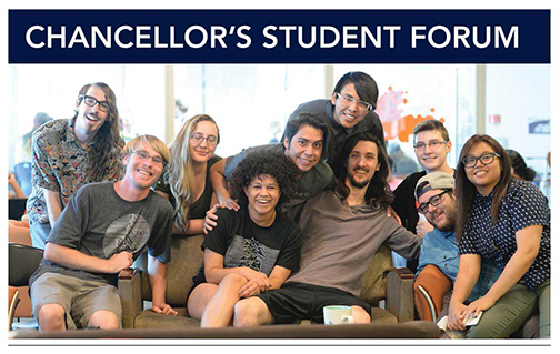 Image of a group of students sitting on a coach gathered together for a photo. Text: Chancellor's Student Forum