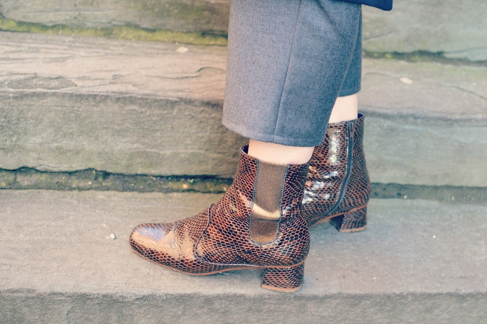 Finery Elmworth snakeskin boots, fashion blogger