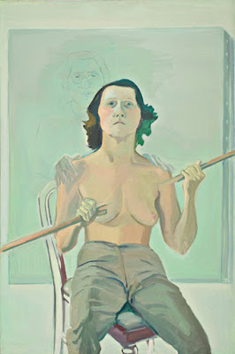 Selbstporträt mit Stab (1971), Maria Lassnig