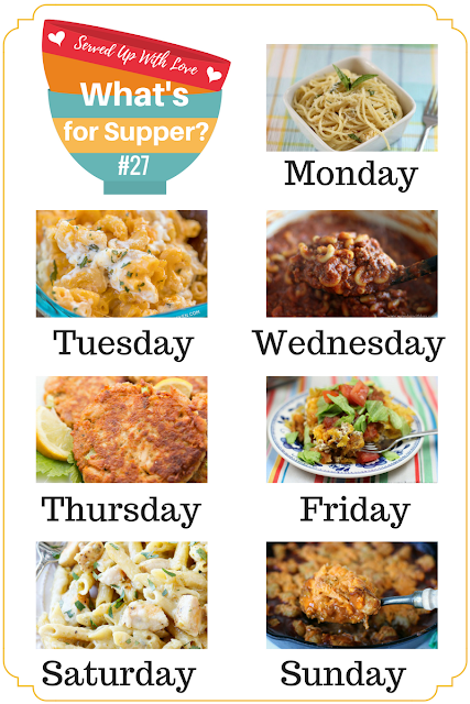 Salsa Verde Chicken Pasta, Easy One-Pot Chili Mac, Chili Tater Tot Casserole, Easy Tuna Patties, and more at What's for Supper Sunday meal plan.