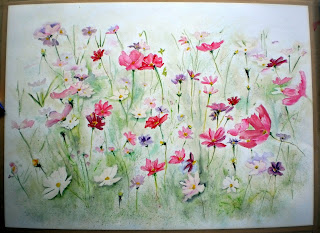 watercolour cosmos painting