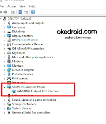 Device Manager > Samsung Android Phone > Samsung Android ADB Interface