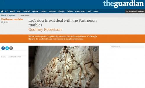Guardian: Να συμπεριληφθεί στη συμφωνία για το Brexit και η επιστροφή των Γλυπτών του Παρθενώνα