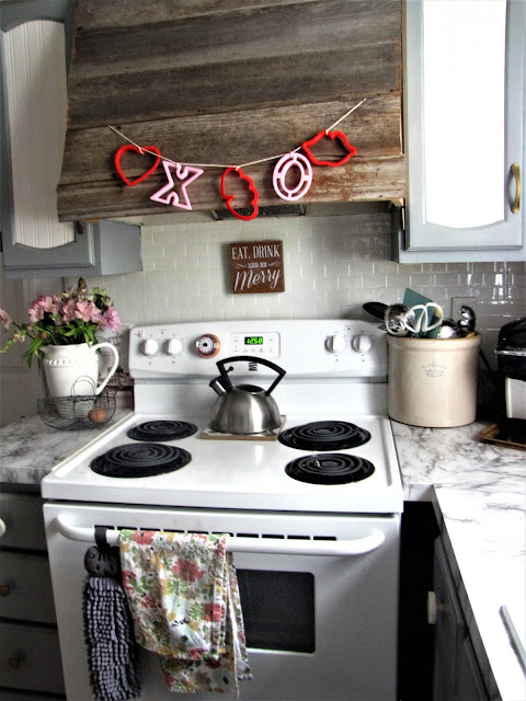 valentines day  garland made out of cookie cutters