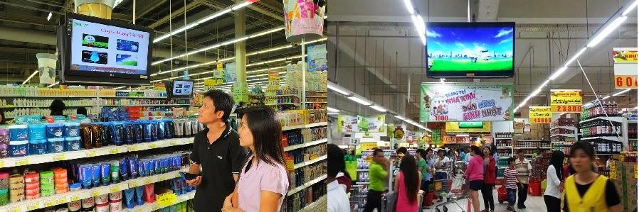 quảng cáo truyền thông bằng hệ thống LCD trong siêu thị