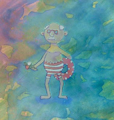 Illusztráció gyerekvershez, idős, szemüveges, bajuszos bácsi a strandon, lába a Balatonban, csíkos fürdőnadrágban, pöttyös úszógumival, fagyival.