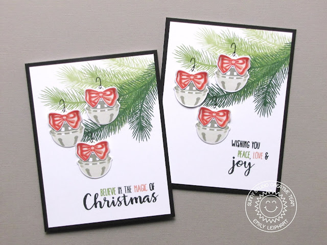 Sunny Studio Stamps: Holiday Style Believe in The Magic of Christmas Jingle Bell Card by Emily Leiphart.