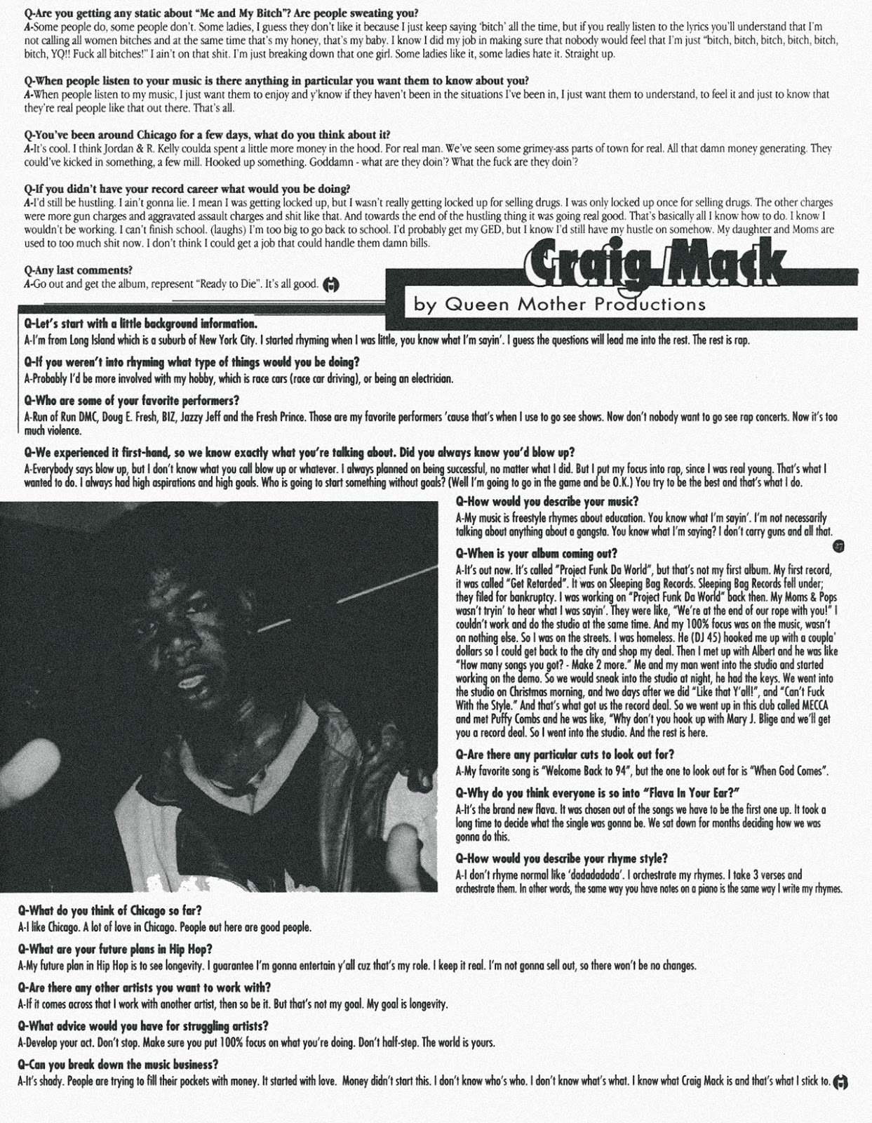 Craig Mack 'Caught In The Middle' Zine Interview (1994)