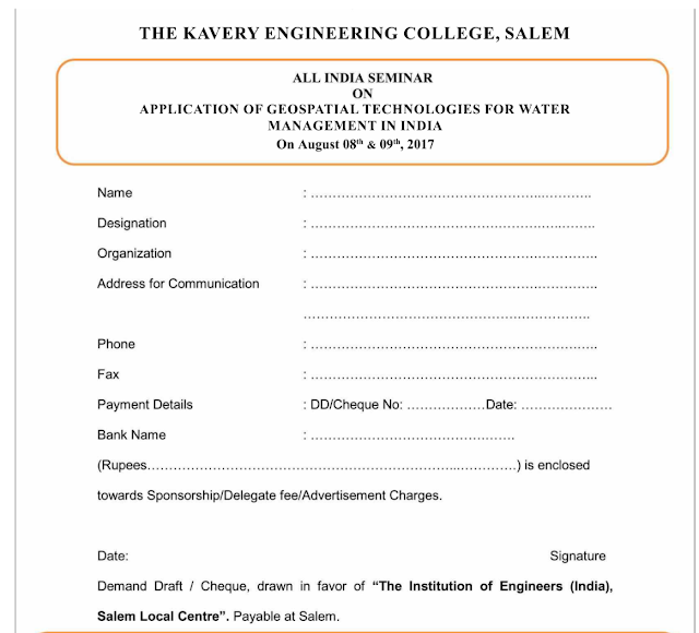 All India Seminar on Application of Geospatial Technologies for Water Management in India at Kavery Engineering College