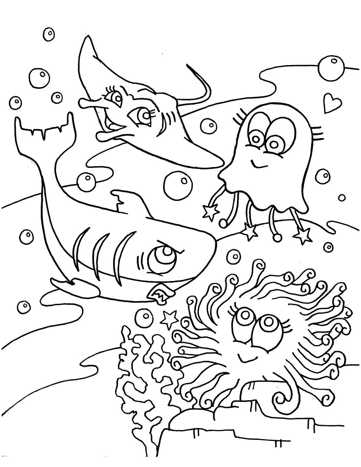 coloring pages of sea creatures   Mewarnai Binatang yang Hidup di Air   Ayo Mewarnai