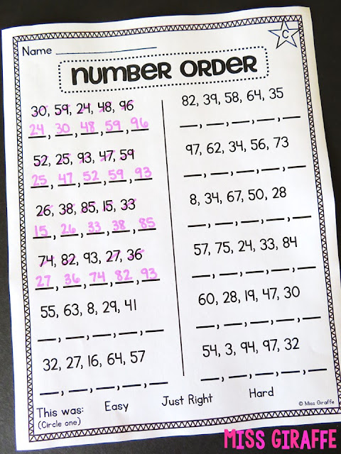 Differentiated first grade math worksheets for number order where students put numbers in order (Star in top left corner shows it is a level C worksheet) - read about how to individualize your instruction with leveled worksheets!