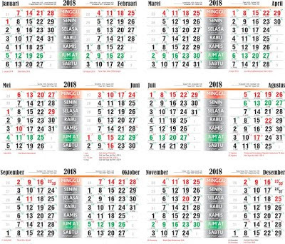 Download Kalender 2018 Masehi / 1439 Hijriyah Corel Gratis