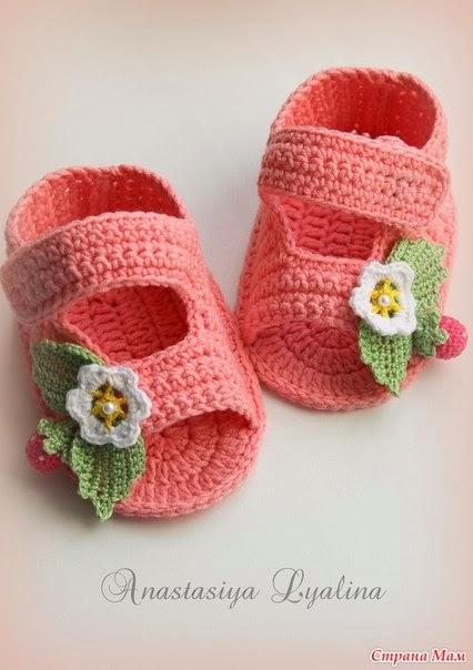 пинетки сандалики для малышки крючком