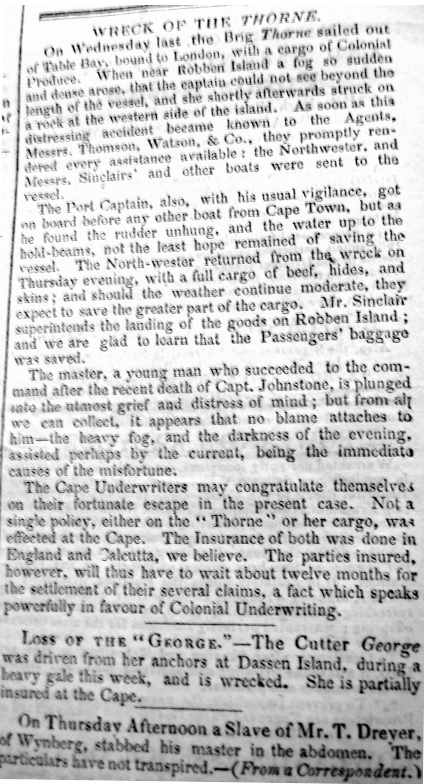 Mole's Genealogy Blog: Wreck of the brig Thorne 18 May 1831