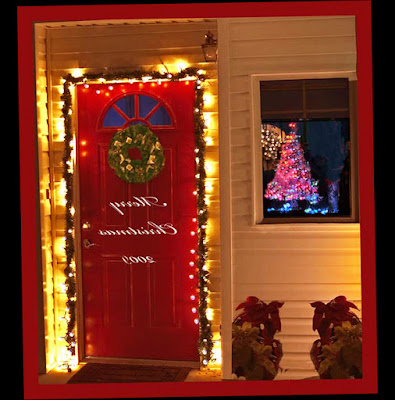 Front Door Entry Christmas Decorations With Small Lamp Lighting New Photo