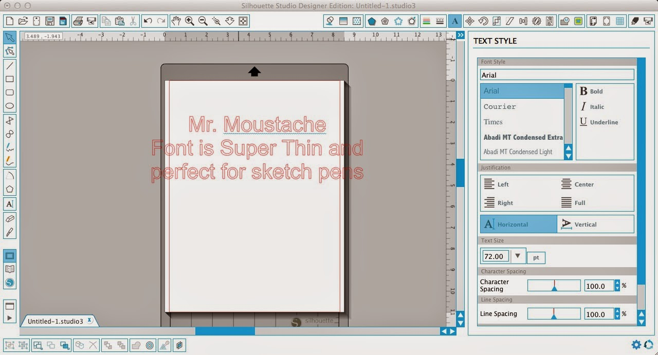 Silhouette sketch pens, thin fonts, Silhouette Studio, text style