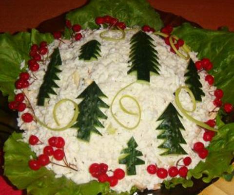 салат мясной с грибами фото.  Новые вкусные салаты к Новому году 2015 фото-рецепты.