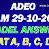 ADEO Exam 29/10/2017 Model Answer Sat A, B, C ,D, WWW.CGVYAPAM.CHOICE.GOV.IN