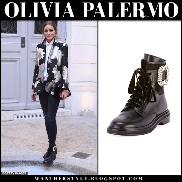 Olivia Palermo in black metallic printed jacket, black jeans and black crystal buckle boots roger vivier fashion week outfits september 27