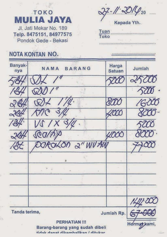 Contoh Nota Pembelian Sembako Daftar Contoh O