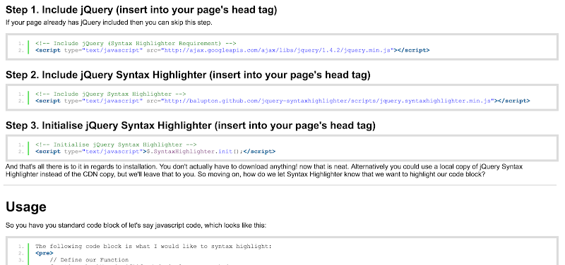 jQuery syntax highlighters for web