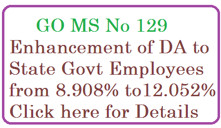 go-ms-no-129-dearness-allowances-da-enhancement-to-telangana-employees ALLOWANCES – Dearness Allowance – Dearness Allowance to the State Government Employees from 1st  of January 2015 – Sanctioned – Orders –   Issued.