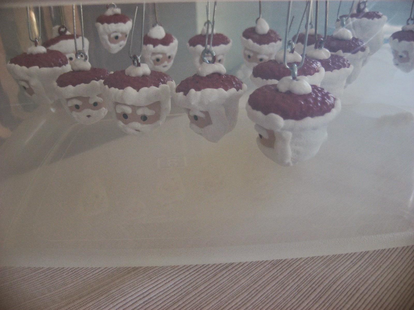Hooked On Needles Painted Acorn Santa Ornaments A