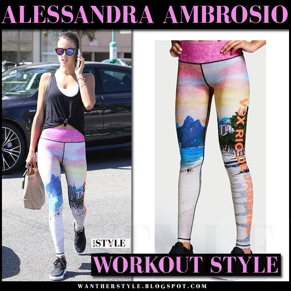 Alessandra Ambrosio in black top and pink Rio de Janeiro print leggings victorias secret what she wore workout style