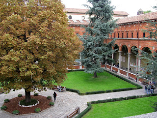 The cloister at the Università Cattolica in Milan, the largest private university in Europe