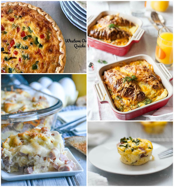 collage of egg casseroles, quiches and more
