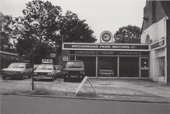 Photograph of Brookmans Park Motors Ltd 1991. Original proprietor Mr Greenleaf owned the Bell Bar Garage.
