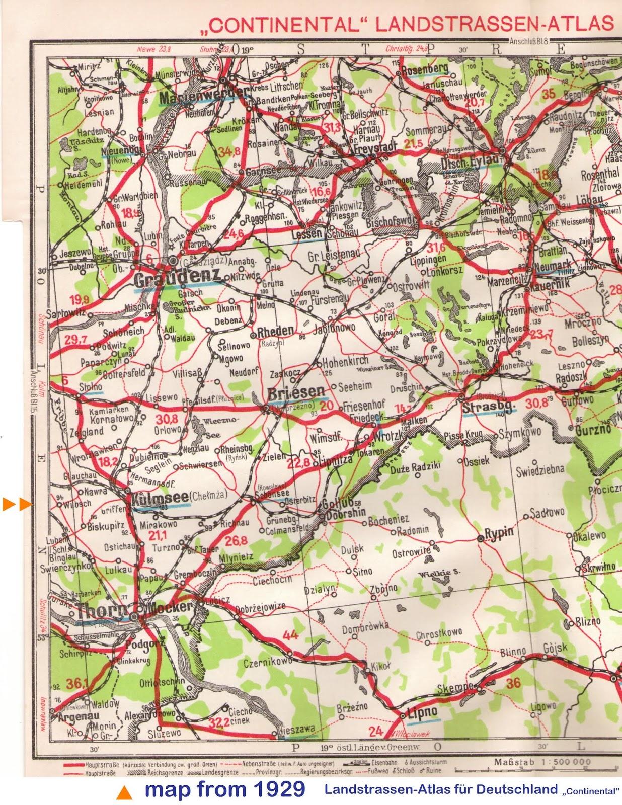 Kulmsee 1929 Landstrassen-Atlas – cut