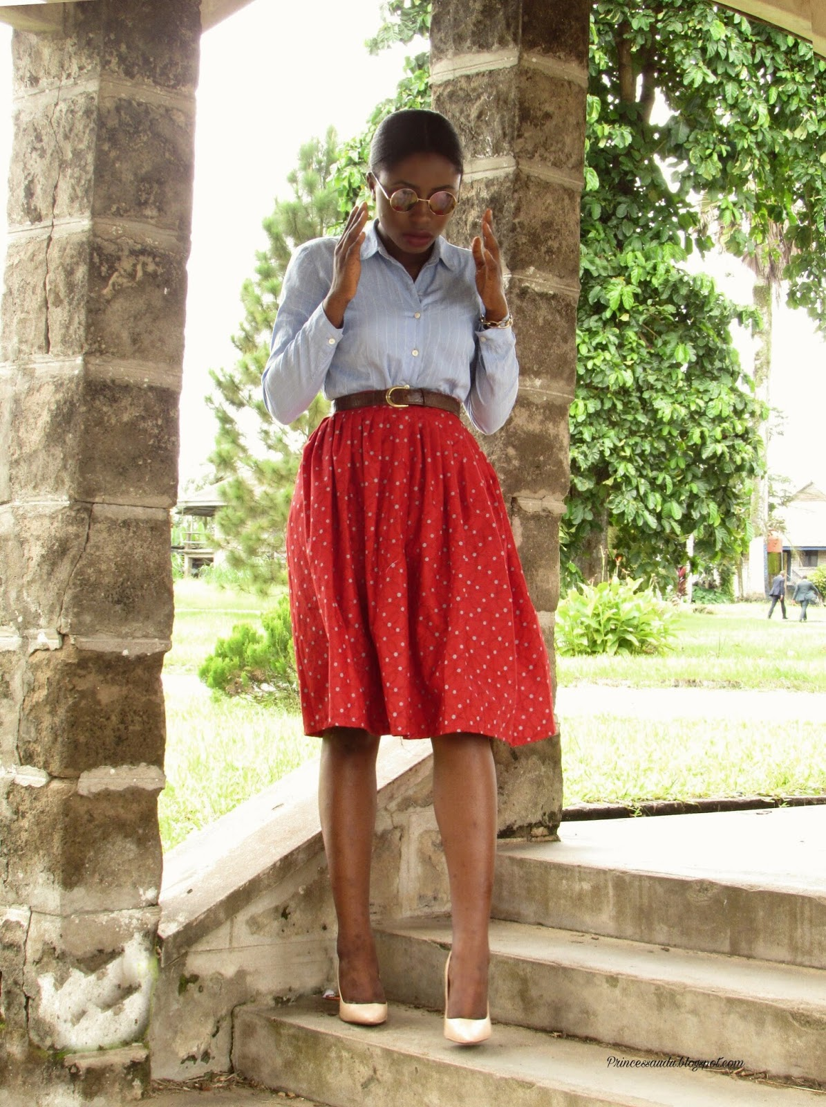 Polkadots, stripes, mixed prints, Ankara midi skirt, corporate outfit